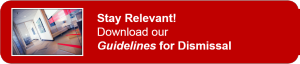 CTA button red.Dismissal Guidelines